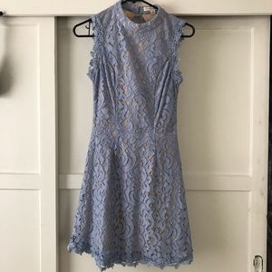 Blue lace fit and flare